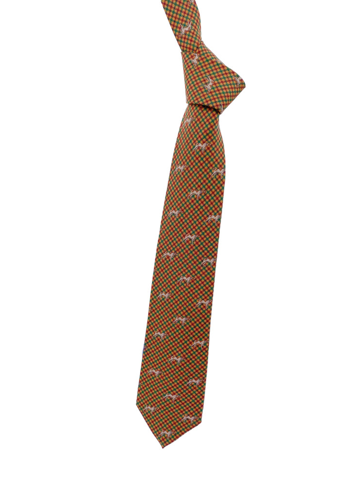 Fall 2020 Gold, Green and Red Dog Printed Silk Tie by Robert Jensen