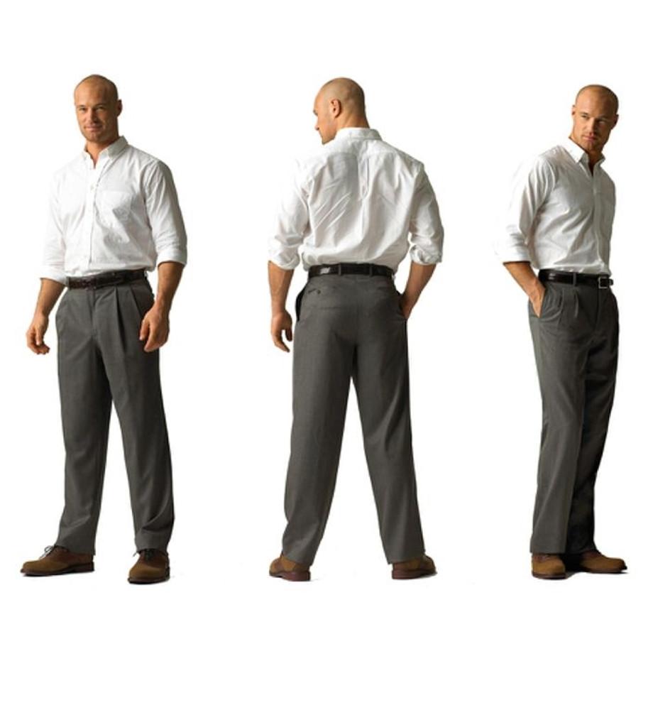 'Lanyard' Double Reverse Pleat Trousers in 120's Worsted Wool Gabardine Size 35x30 in Grey by Corbin