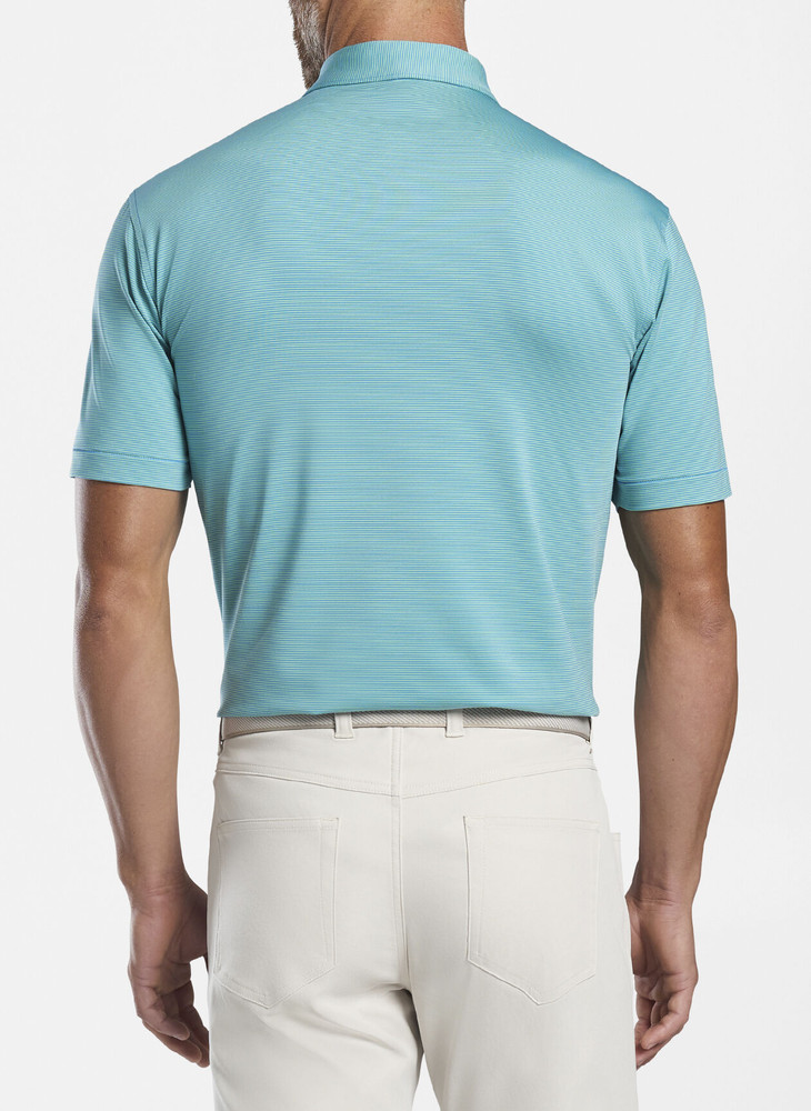 Jubilee Stripe Performance Polo in Blue River and Mint Leaf by Peter Millar