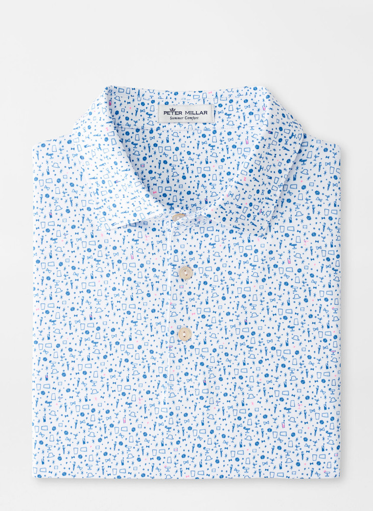 Night Performance Jersey Polo in White by Peter Millar