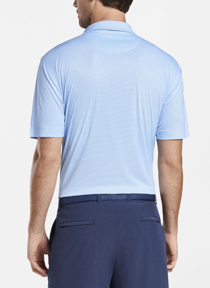 Featherweight Printed Geo Performance Polo in Blue and White by Peter Millar