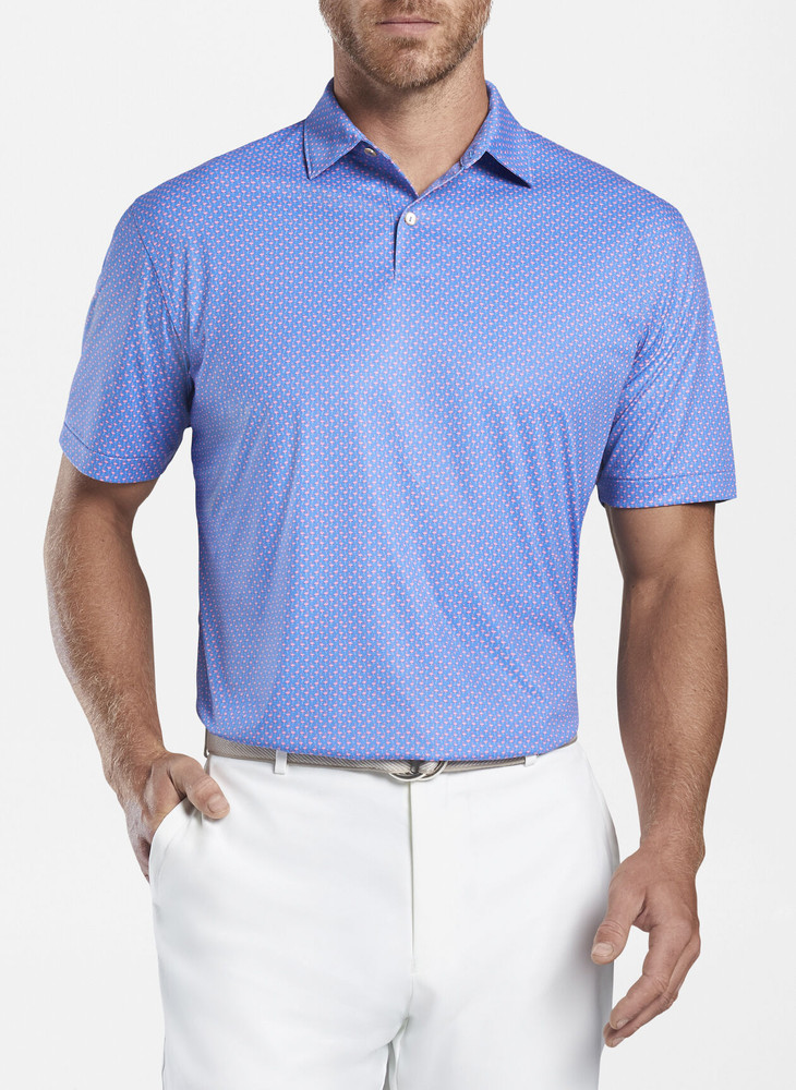 Featherweight Printed Flamingo Performance Polo in Blue River by Peter Millar