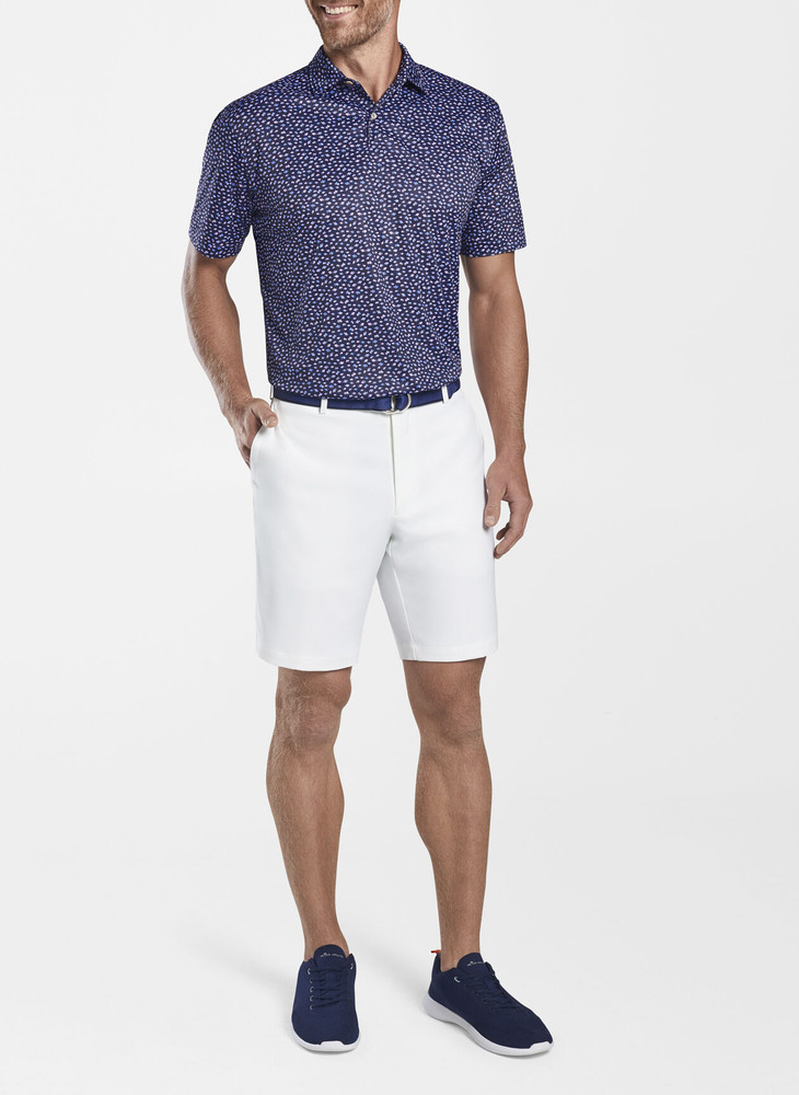 Featherweight Printed Fish Performance Polo in Navy by Peter Millar