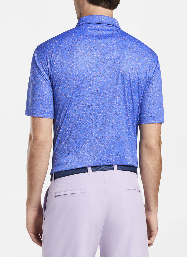 Featherweight Printed Citrus Performance Polo in Blue River by Peter Millar