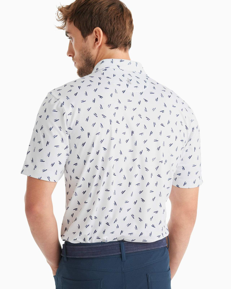 Birdie PREP-FORMANCE Jersey Polo - Exeter Print in White by johnnie-O