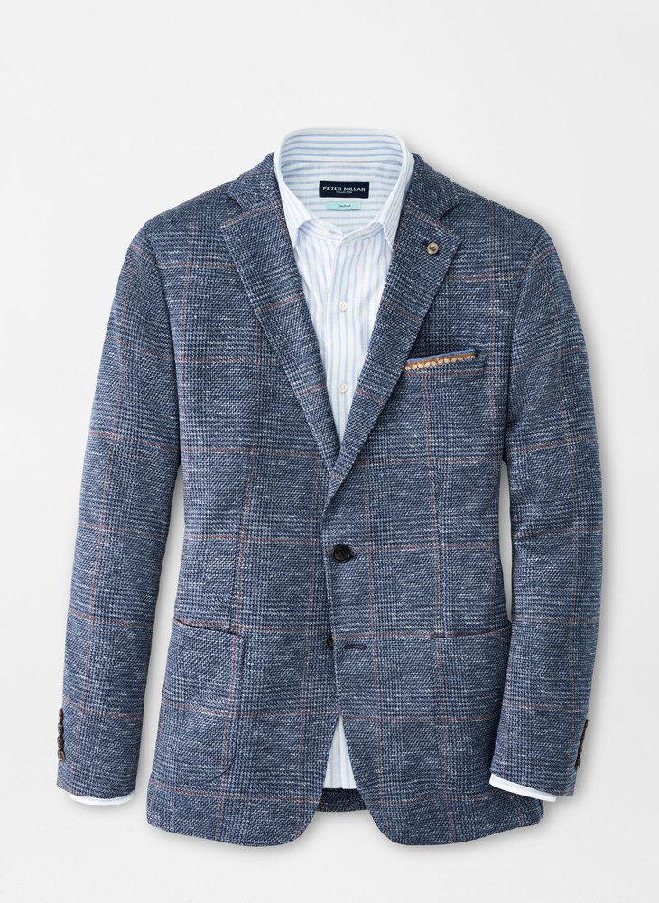 Levante Plaid Jersey Soft Jacket in Riviera Blue by Peter Millar