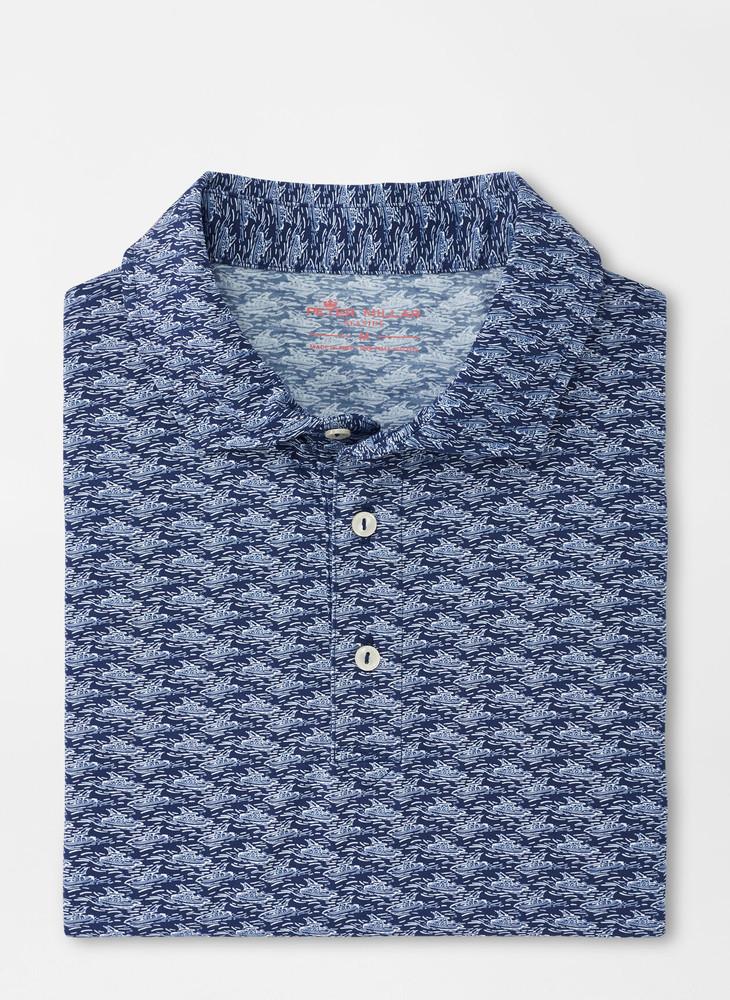 Night Voyage Aqua Cotton Polo in Atlantic Blue by Peter Millar