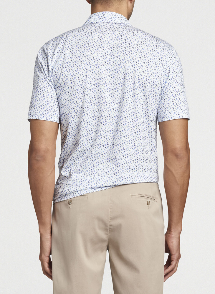 Leaping Marlins Aqua Cotton Polo in White by Peter Millar