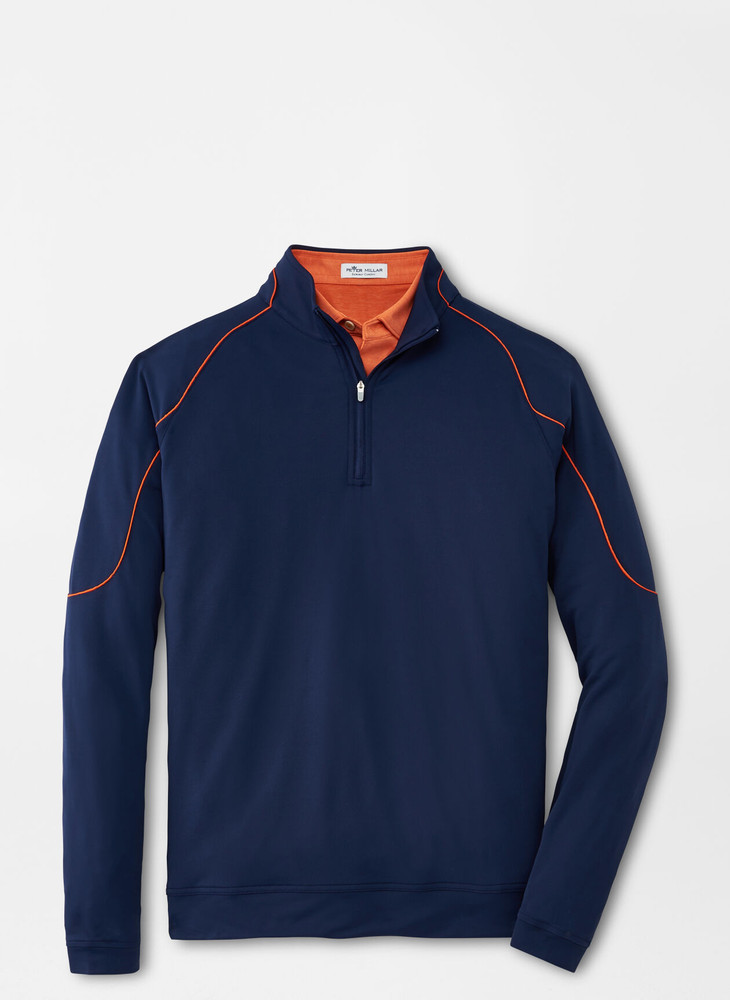 Perth Piped Performance Quarter-Zip in Navy by Peter Millar