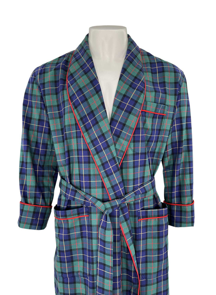Gentleman's Genuine Cotton and Wool Blend Robe in Pine by Viyella