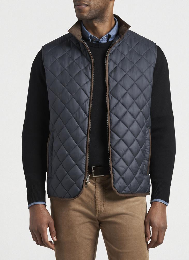 Essex Quilted Travel Vest in Regular Black by Peter Millar