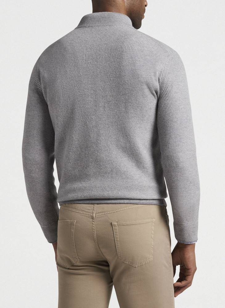 Wool-Cashmere Quarter-Zip in Gale Grey by Peter Millar