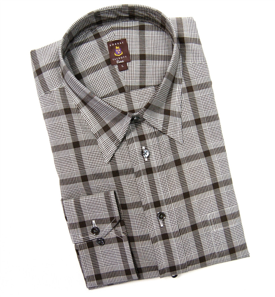 Brown Plaid Estate Sport Shirt by Robert Talbott