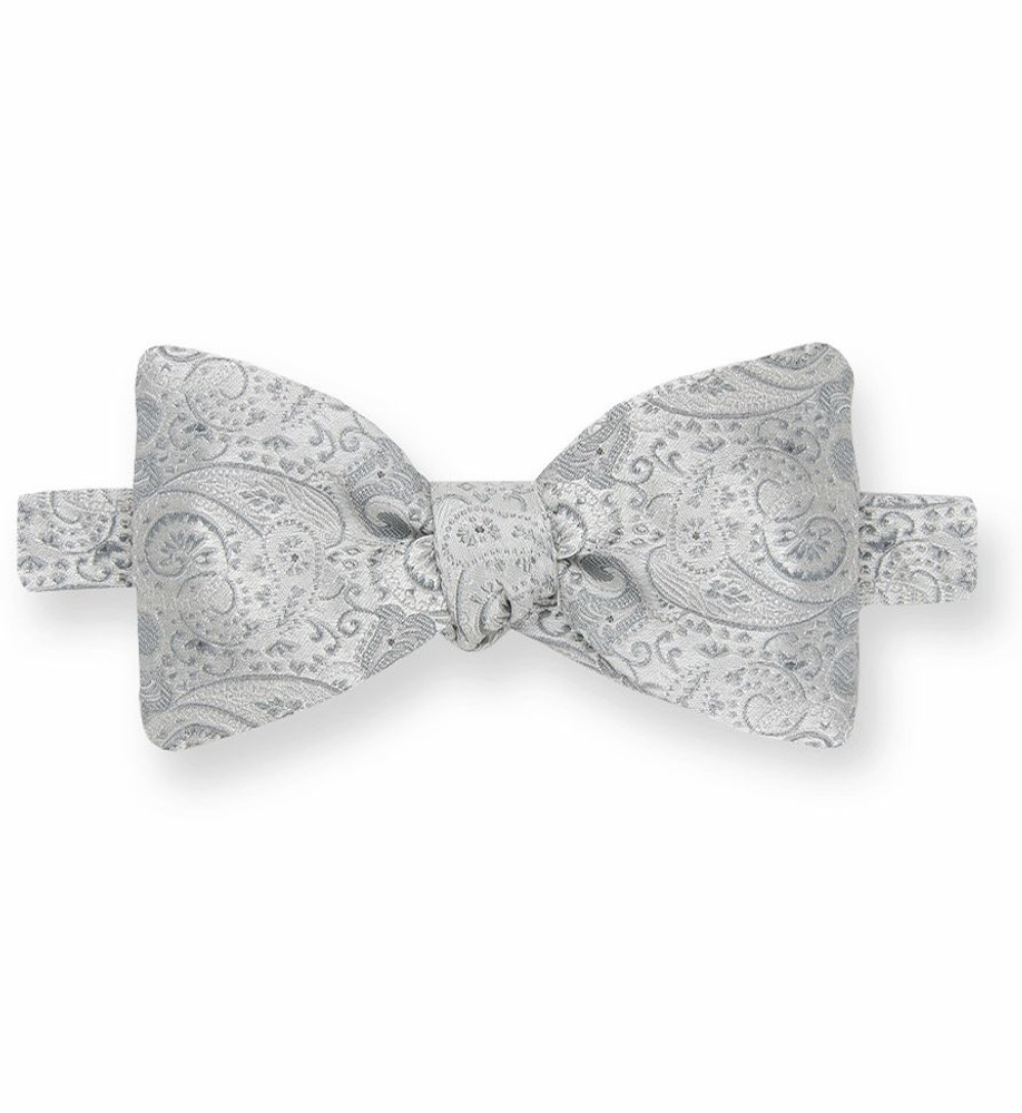 508a0031f2ac Silver Paisley Silk Bow Tie by Gitman Brothers - Hansen's Clothing