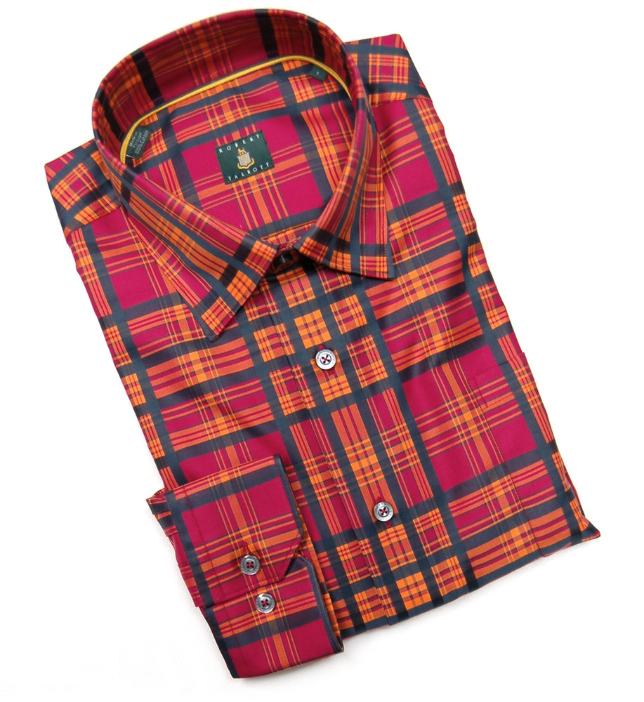 Brick, Orange, and Navy 'Anderson' Check Sport Shirt by Robert Talbott
