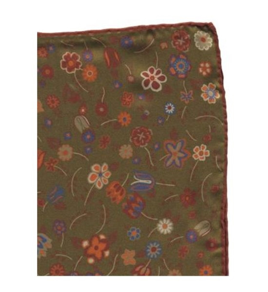 Floral Silk Pocket Square in Olive and Rust by Robert Talbott