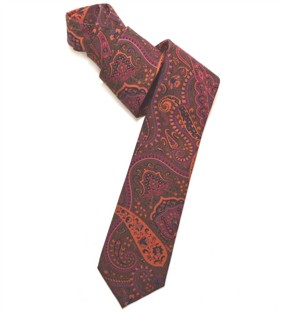 Brown, Orange, and Raspberry Paisley Overprinted Woven Silk Tie by Robert Jensen