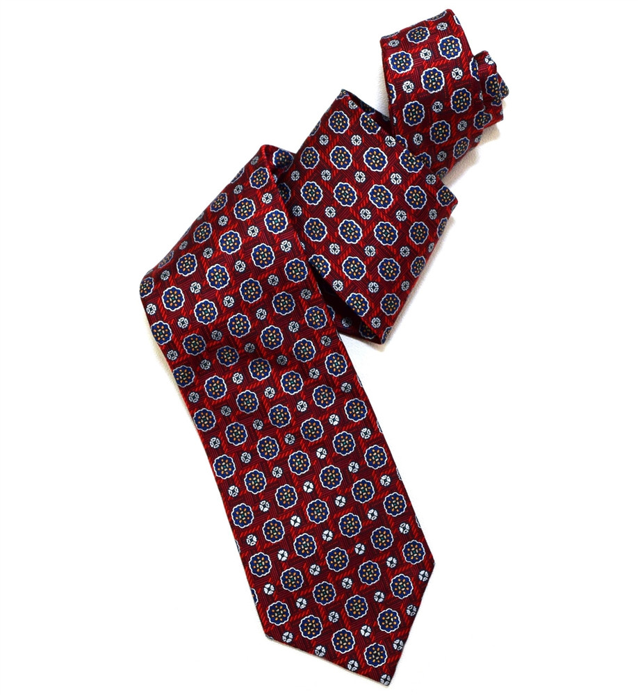 Red and Blue 'Yarn Dyed' Overprint Seven Fold Silk Tie by Robert Talbott