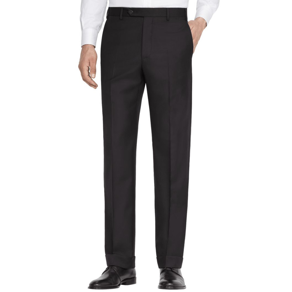 'Todd' Flat Front High Twist Wool Pant in Black by Zanella