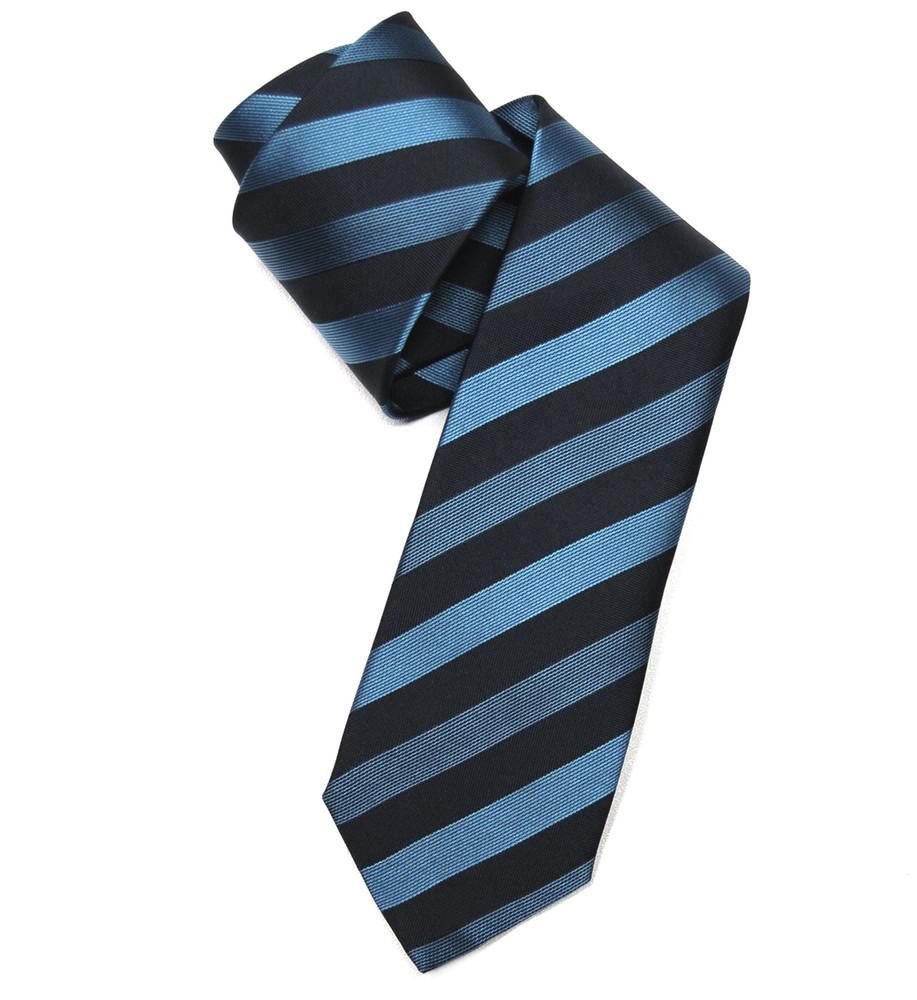 'Regal Stripe' Woven Silk Tie in Royal and Navy by RVR Neckwear