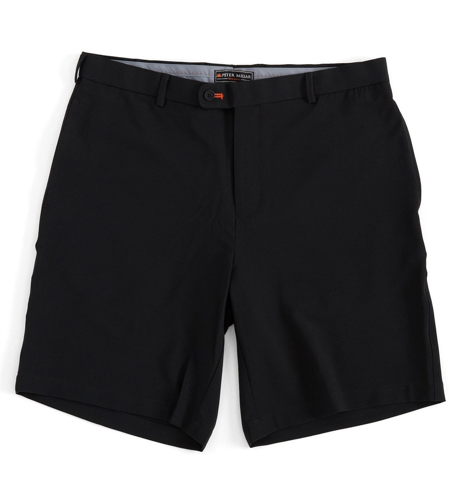 Winston Element 4 Stretch Performance Flat Front Short in Black (Size 34) by Peter Millar