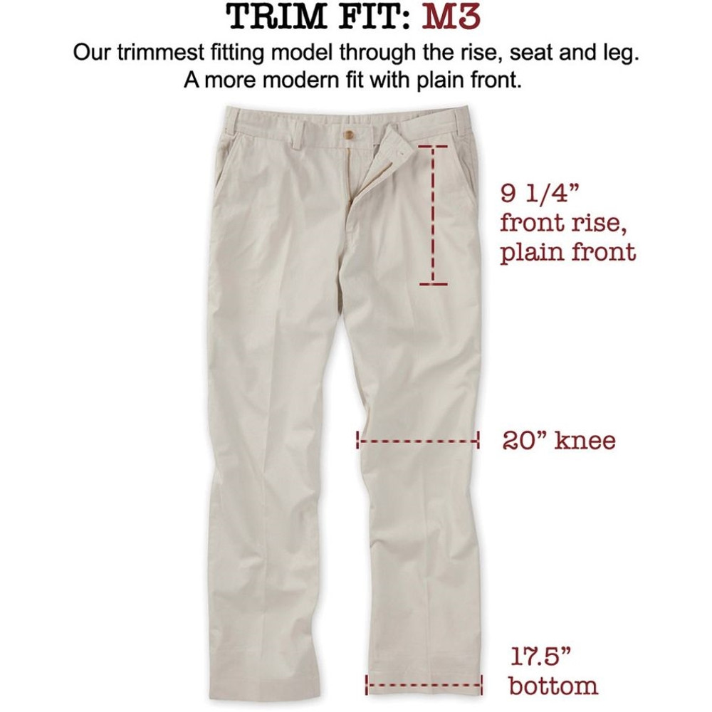 Vintage Twill Pant - Model M3 Trim Fit Plain Front in Khaki by Bills Khakis