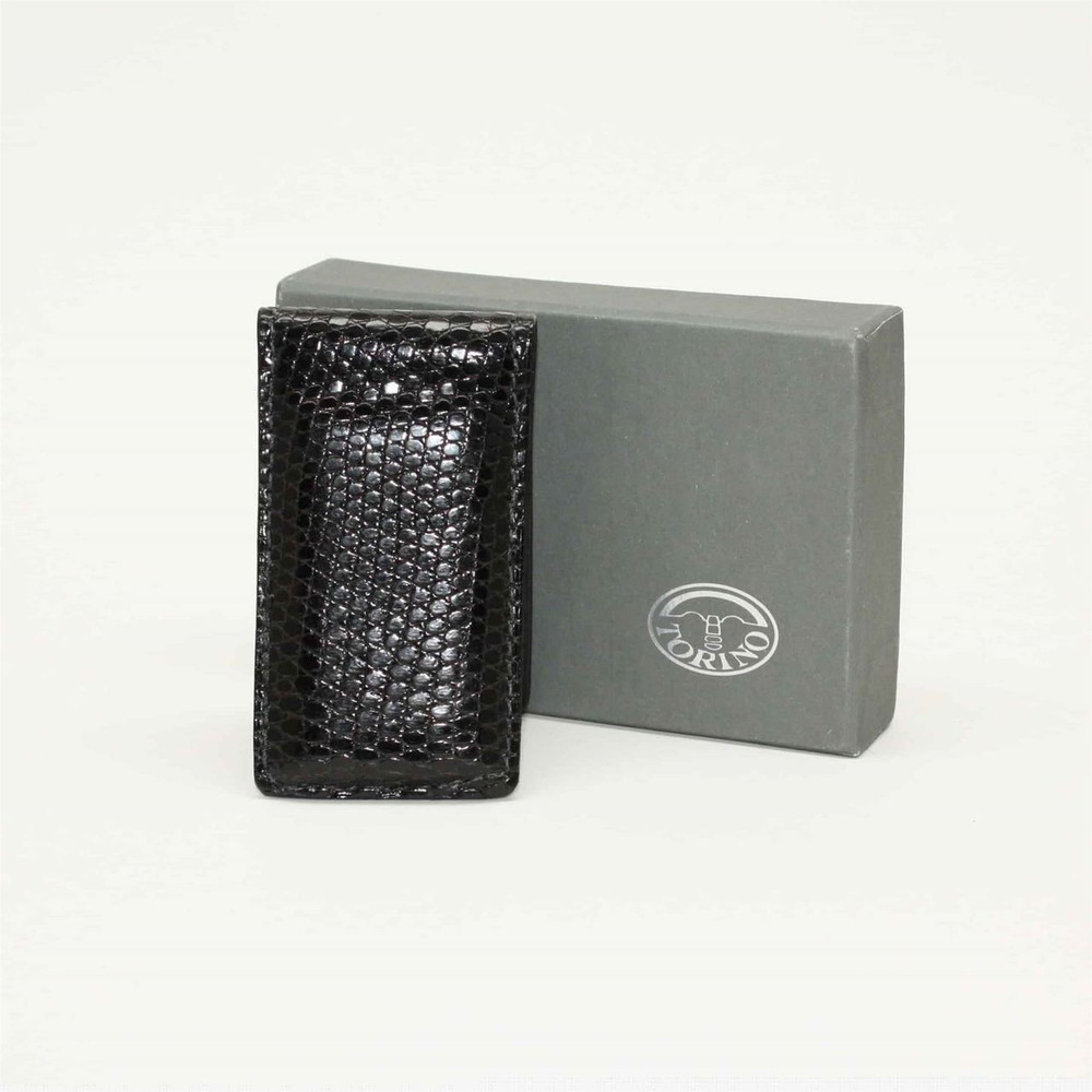 Lizard Magnetic Money Clip in Black by Torino Leather Co.