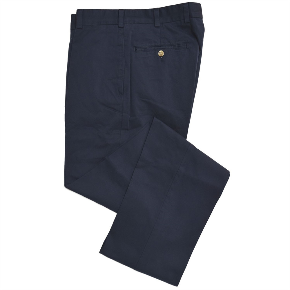 Chamois Cloth Pant - Model F2 Standard Fit Plain Front in Navy by Hansen's Khakis