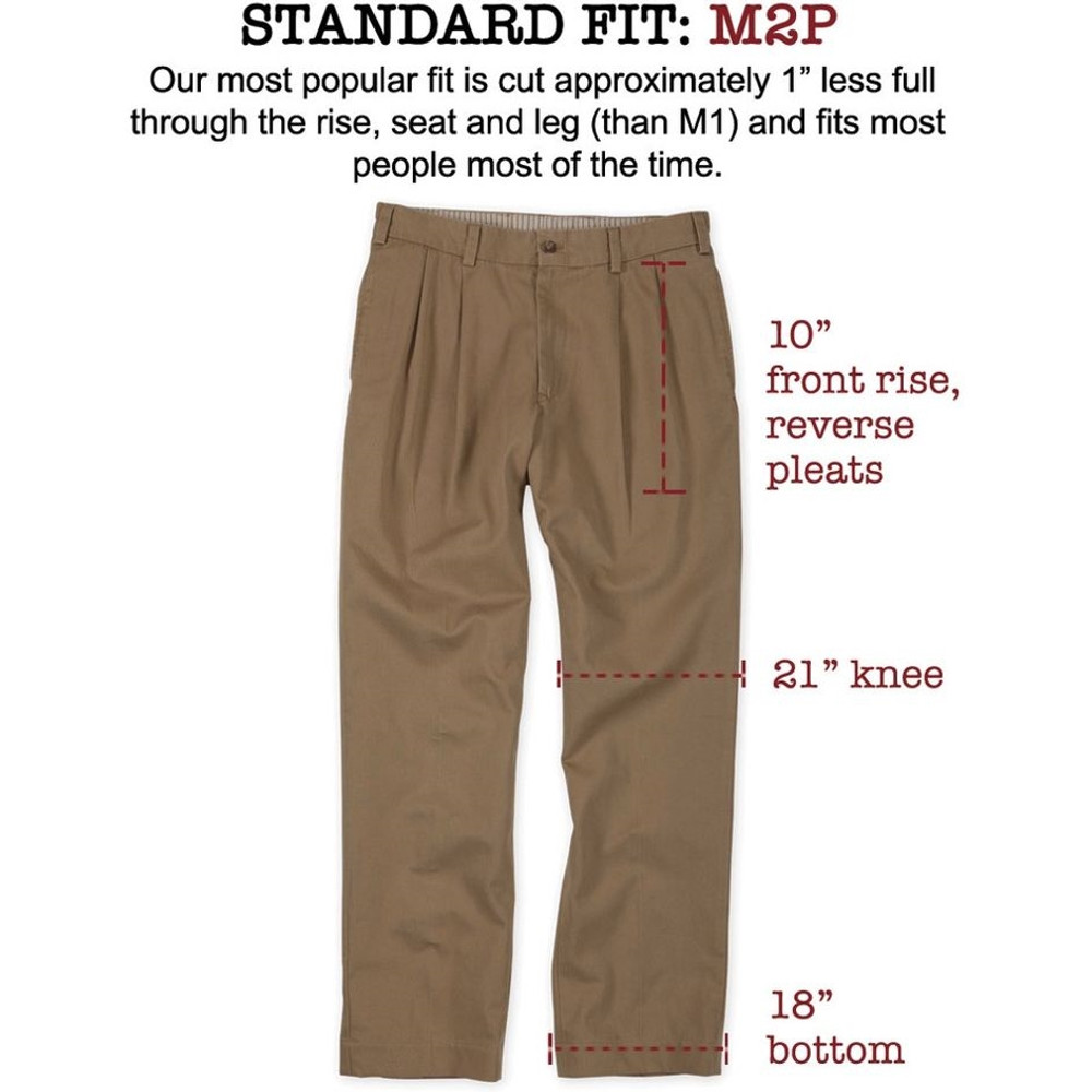 Chamois Cloth Pant - Model M2P Standard Fit Reverse Pleat in Khaki by Bills Khakis
