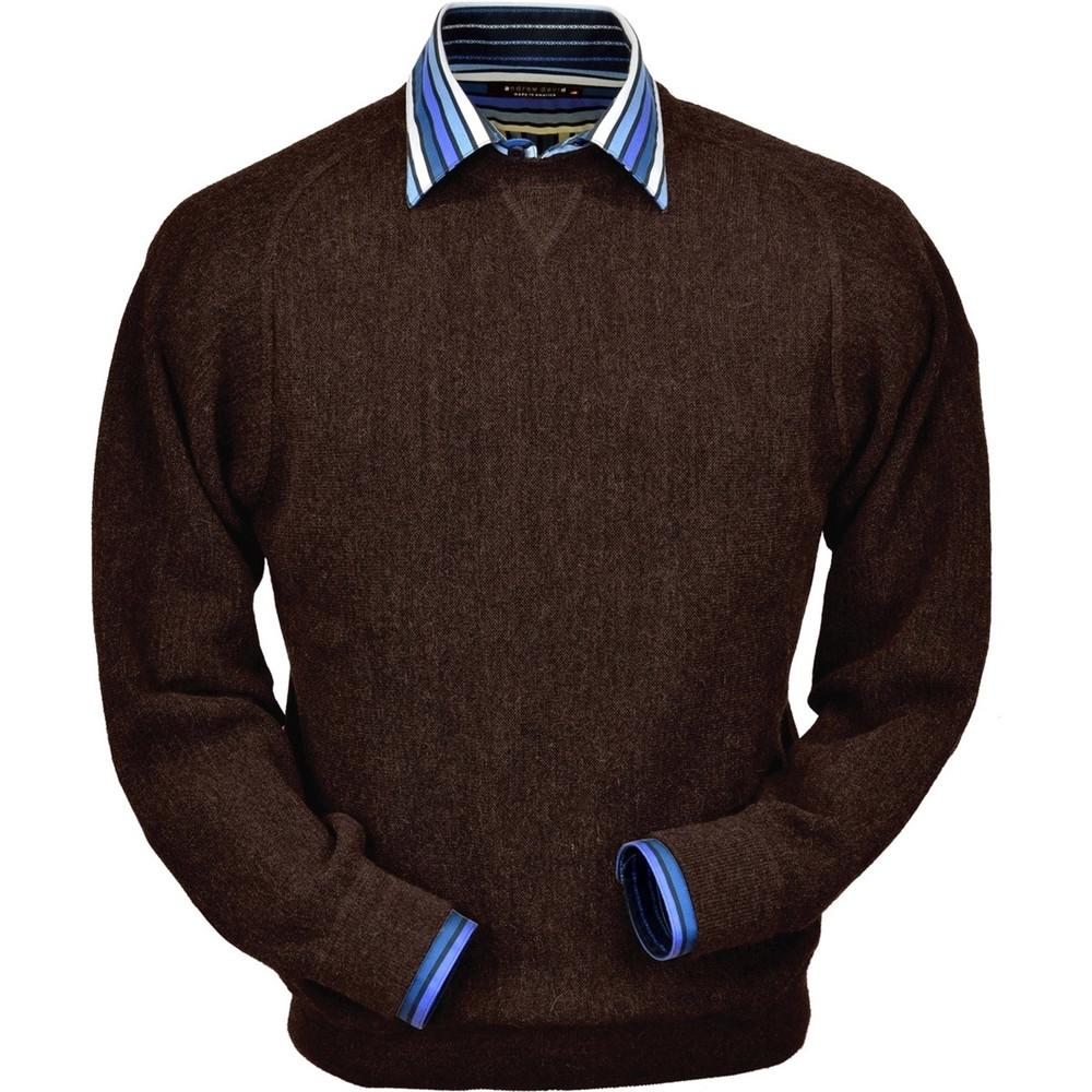 Baby Alpaca Link Stitch Sweatshirt Style Sweater in Bluish Brown Heather by Peru Unlimited