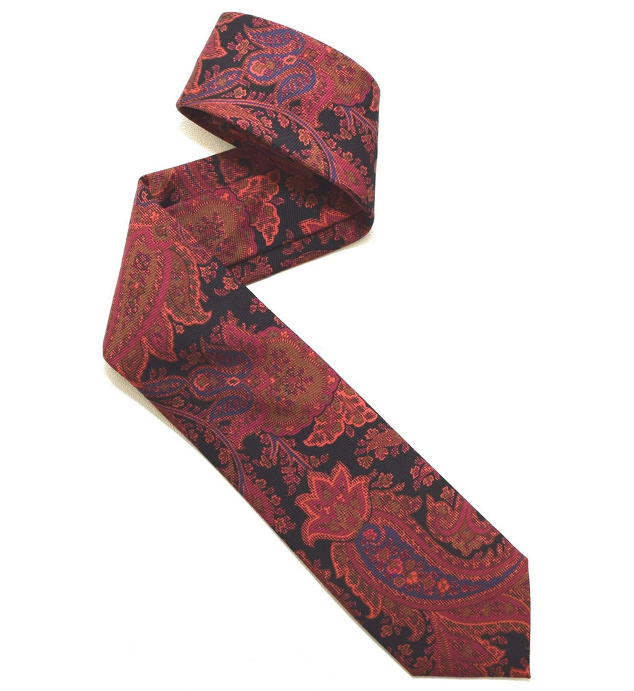 Black, Salmon, and Raspberry Paisley Overprinted Woven Silk Tie by Robert Jensen