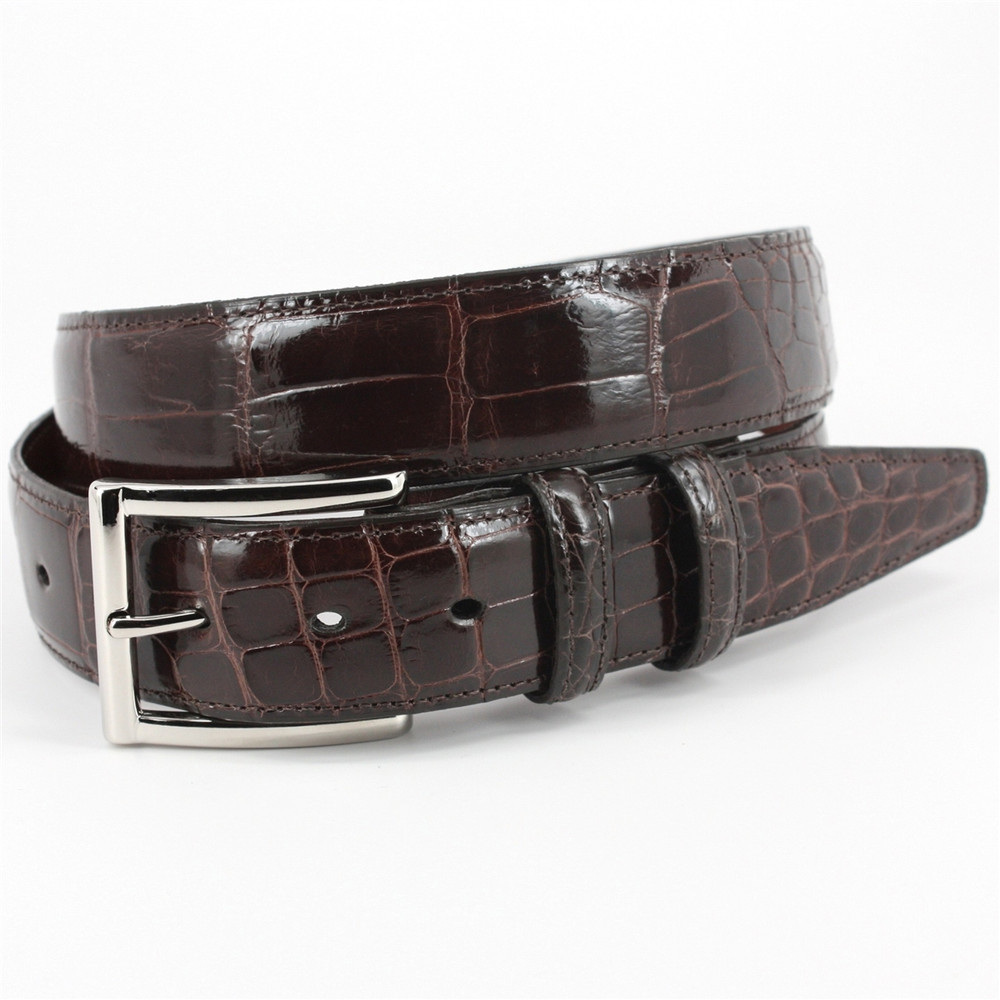 Genuine American Alligator Belt in Brown  by Torino Leather Co.