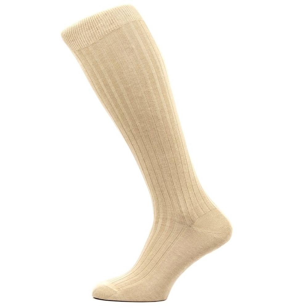 Danvers 5x3 Rib Cotton Lisle Over-the-Calf Sock in Light Khaki (3 Pair) by Pantherella