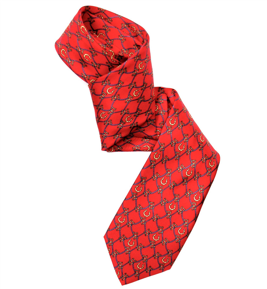 Red, Navy, and Gold 'Bit and Brace' Silk Tie by Marchesi di Como