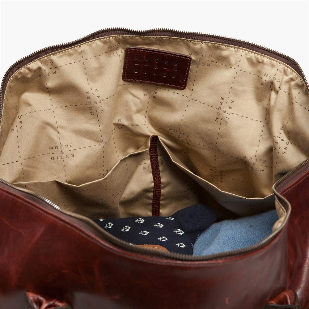 Benedict Weekend Bag in Brompton Walnut by Moore & Giles