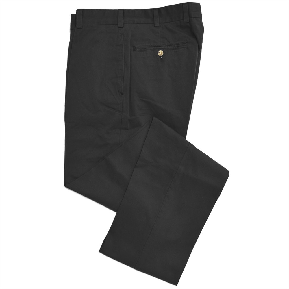 Chamois Cloth Pant - Model F2 Standard Fit Plain Front in Black by Hansen's Khakis