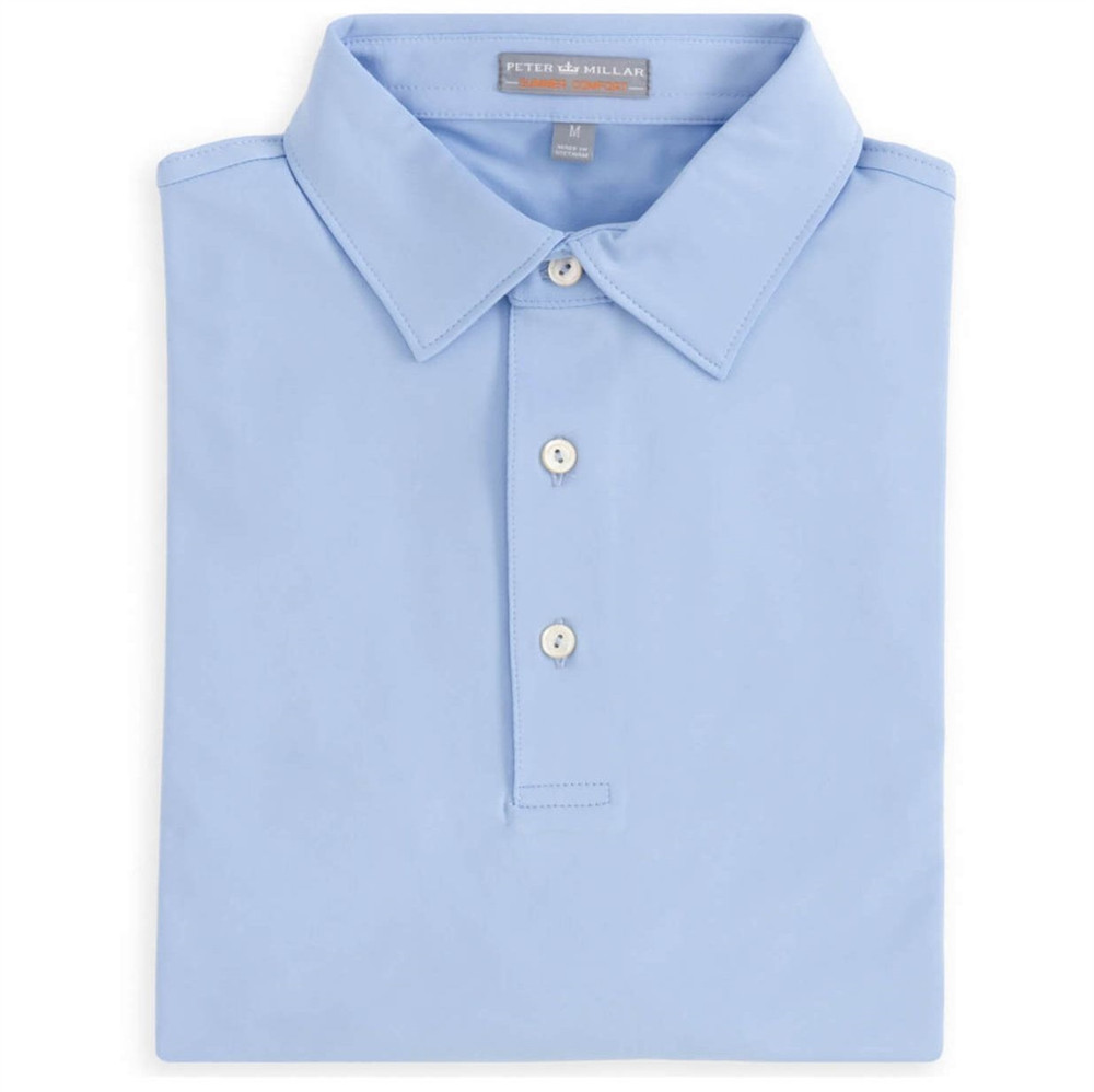 Solid E4 Summer Comfort Stretch Jersey Polo with Self Collar in Cottage Blue by Peter Millar