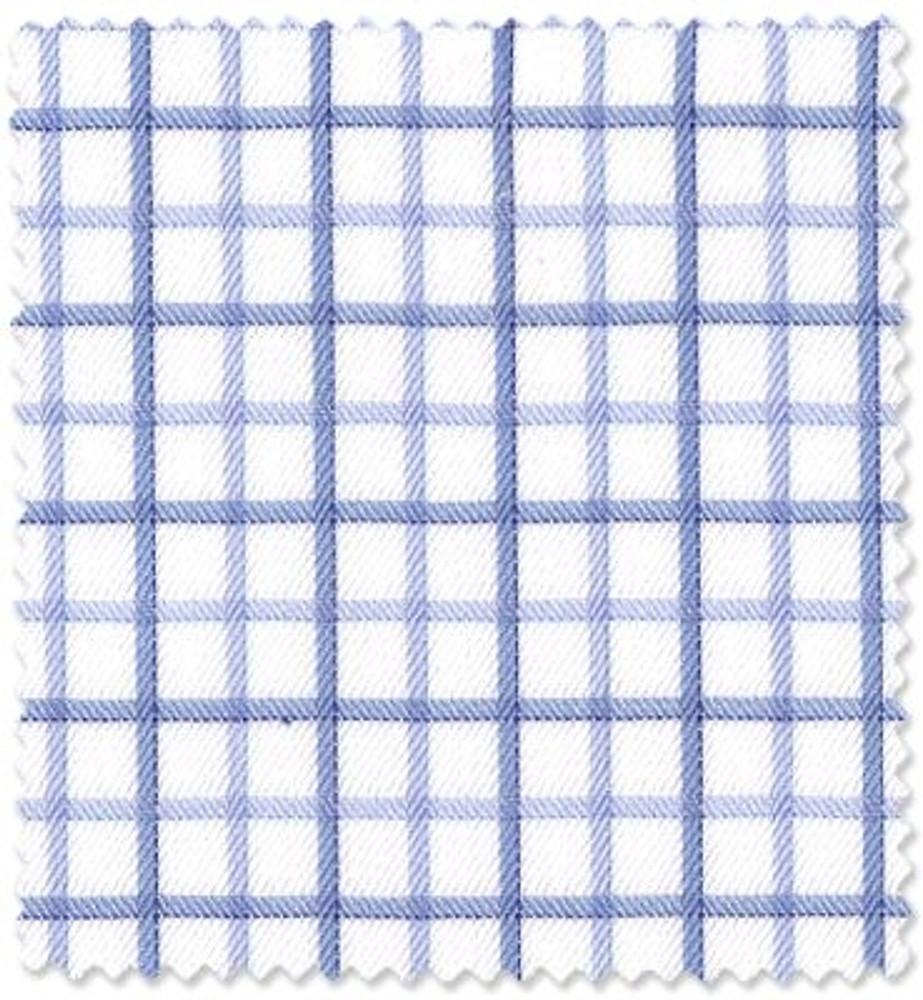 Blue Plaid 'Royal 140's' Cotton Twill Custom Dress Shirt by Skip Gambert