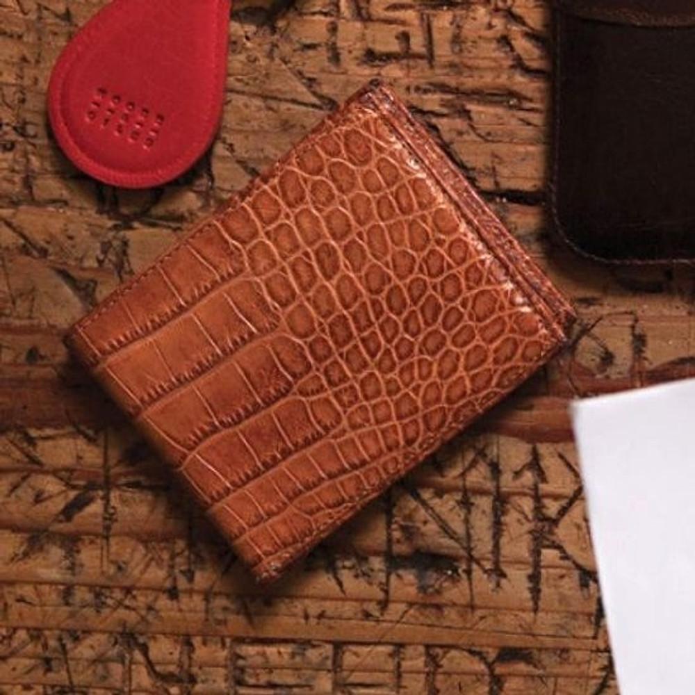 Bi-Fold Wallet in Tan Alligator by Moore & Giles