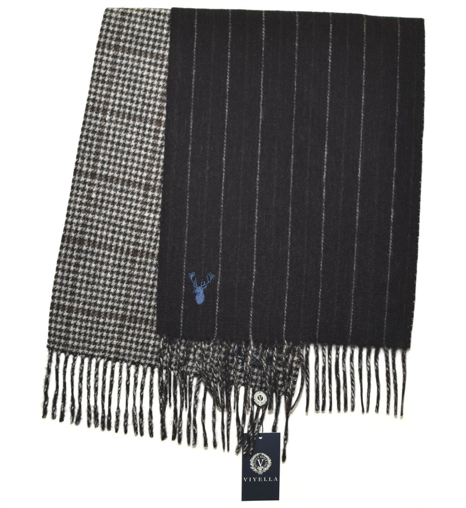 Charcoal, Coffee and Grey Double Faced Plaid/Stripe Wool and Cashmere Scarf by Viyella
