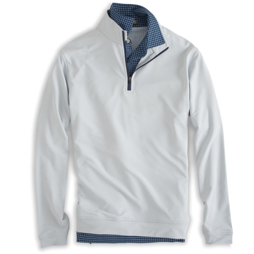 'Perth' E4 Performance Pullover with Contrast Zipper in British Grey and Midnight (Size X-Large) by Peter Millar