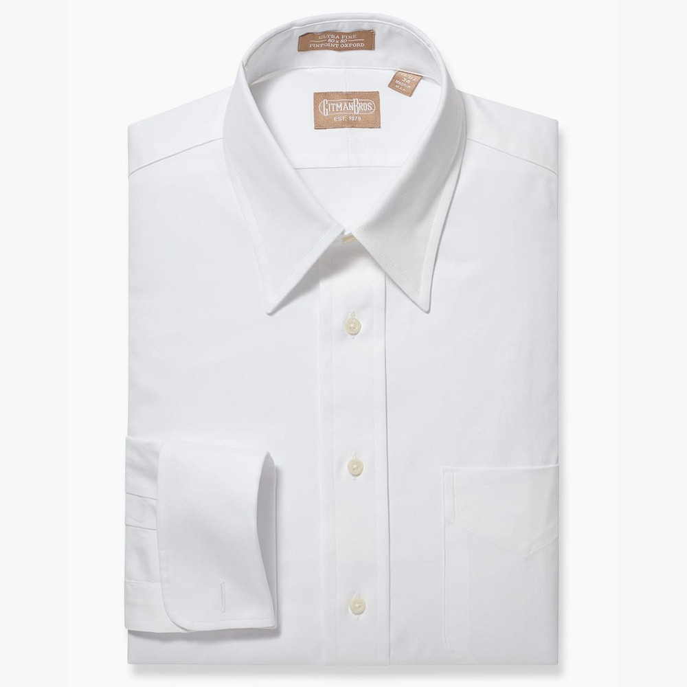 e95e554e Pinpoint Dress Shirt with Point Collar and French Cuff in White by Gitman  Brothers - Hansen's Clothing