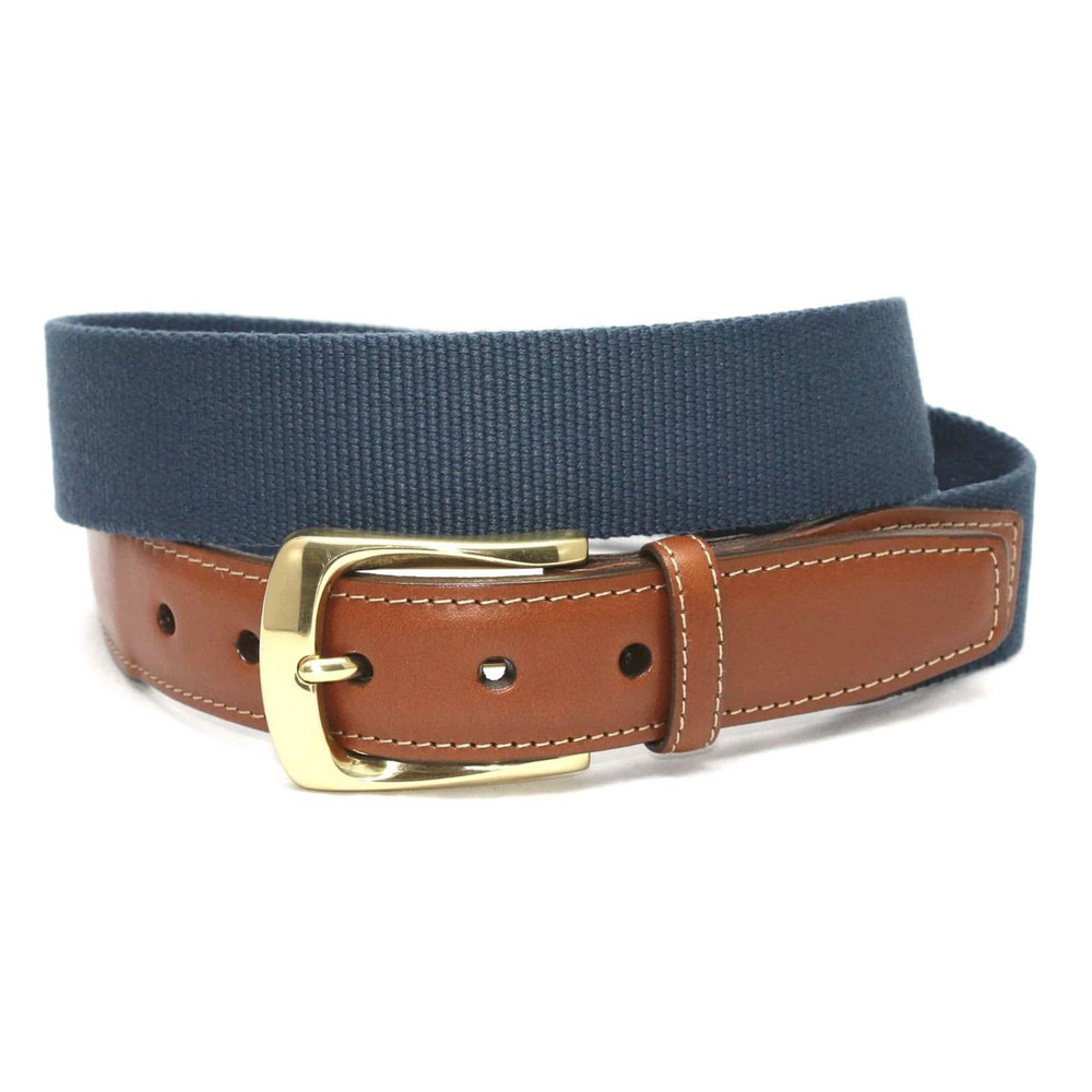 European Ribbed Surcingle Belt in Denim by Torino Leather Co.