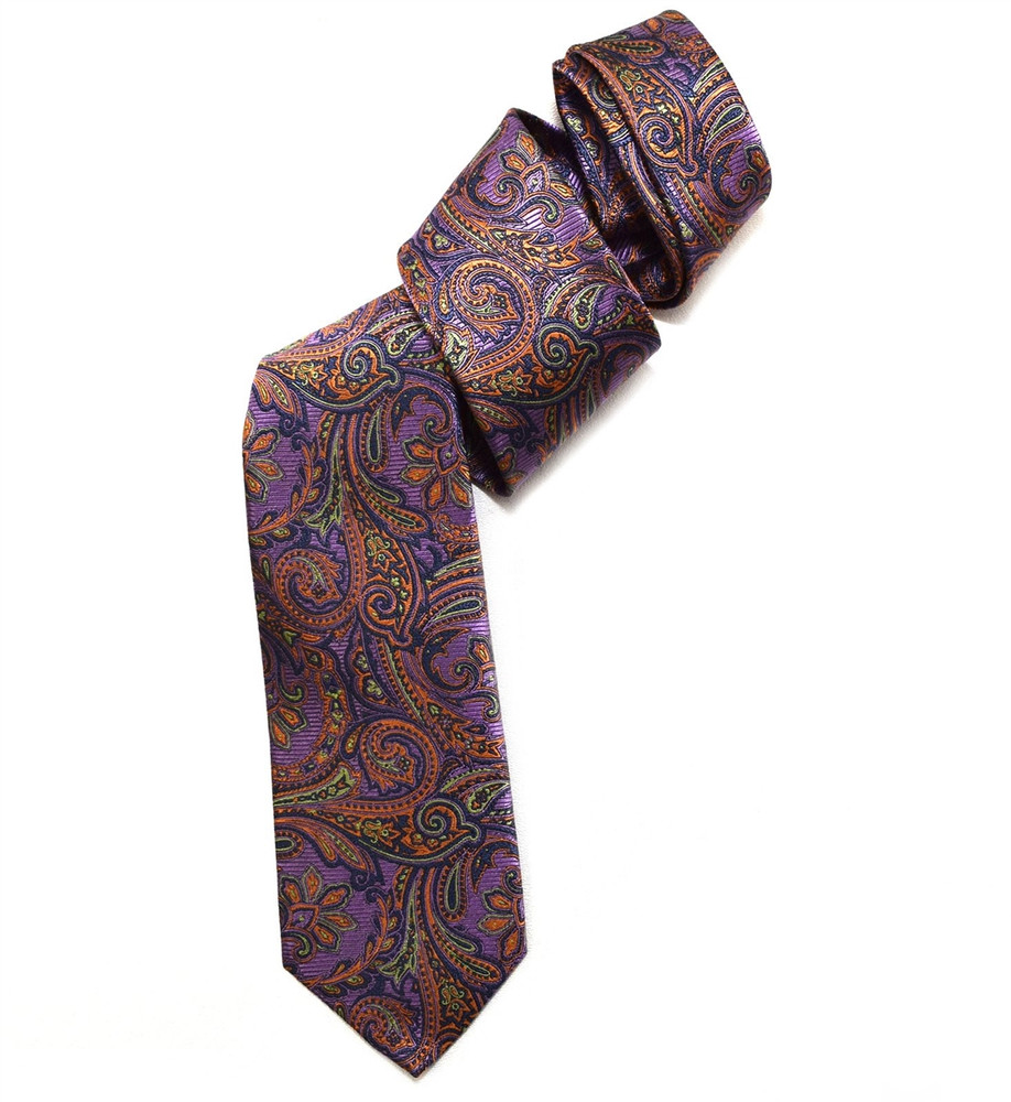 Lavender, Orange, and Green Paisley Woven Silk Tie by Robert Jensen