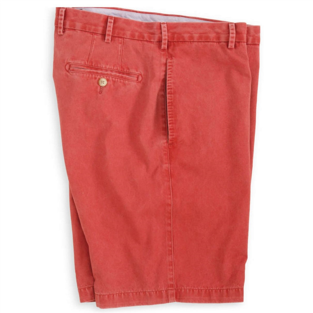 'Winston' Washed Twill Flat Front Short in Sport Red by Peter Millar