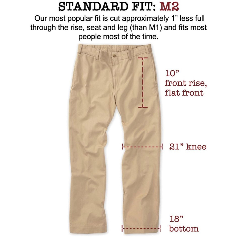 Vintage Twill Pant - Model M2 Standard Fit (Size38 & 42)Plain Front in British Khaki by Bills Khakis