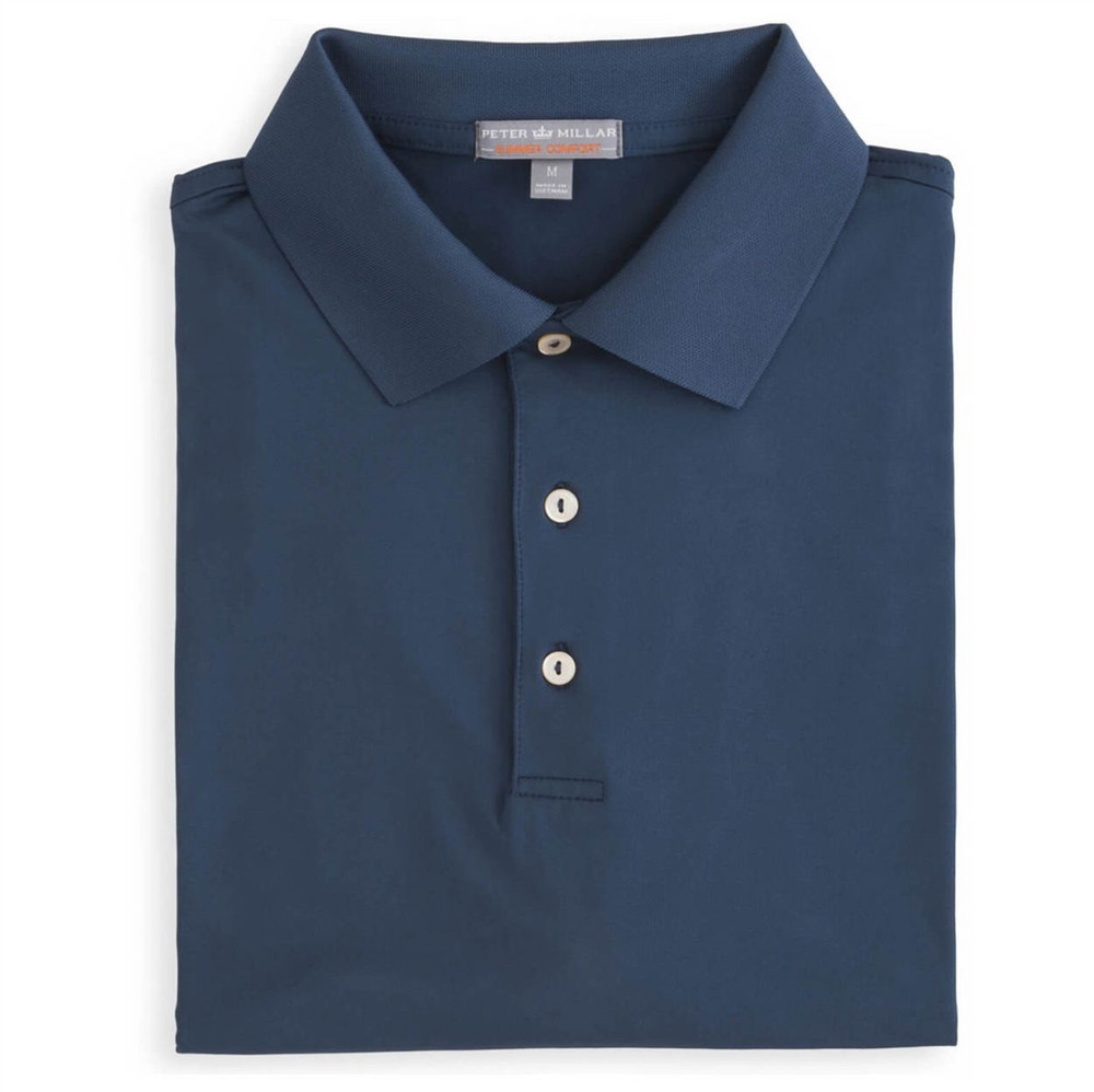 Solid E4 Summer Comfort Stretch Jersey Polo with Knit Collar in Midnight by Peter Millar
