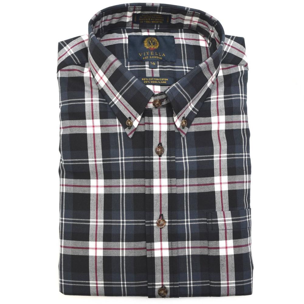 Navy Watch Tartan Button-Down Shirt by Viyella