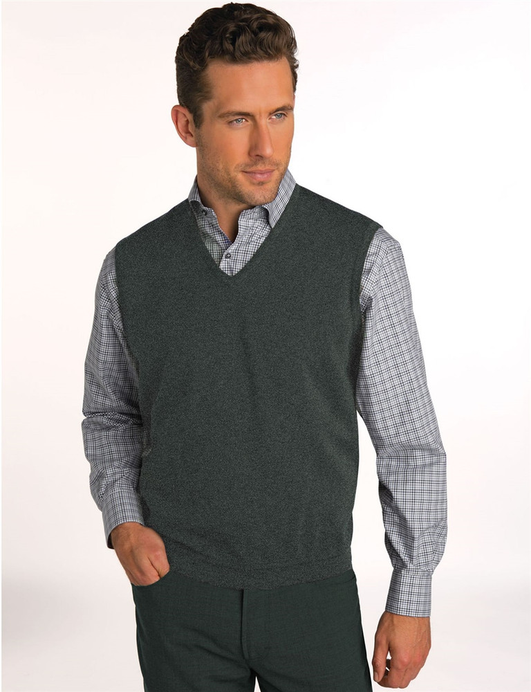 Classic Merino Wool Pullover Vest in Onyx Marl by St. Croix