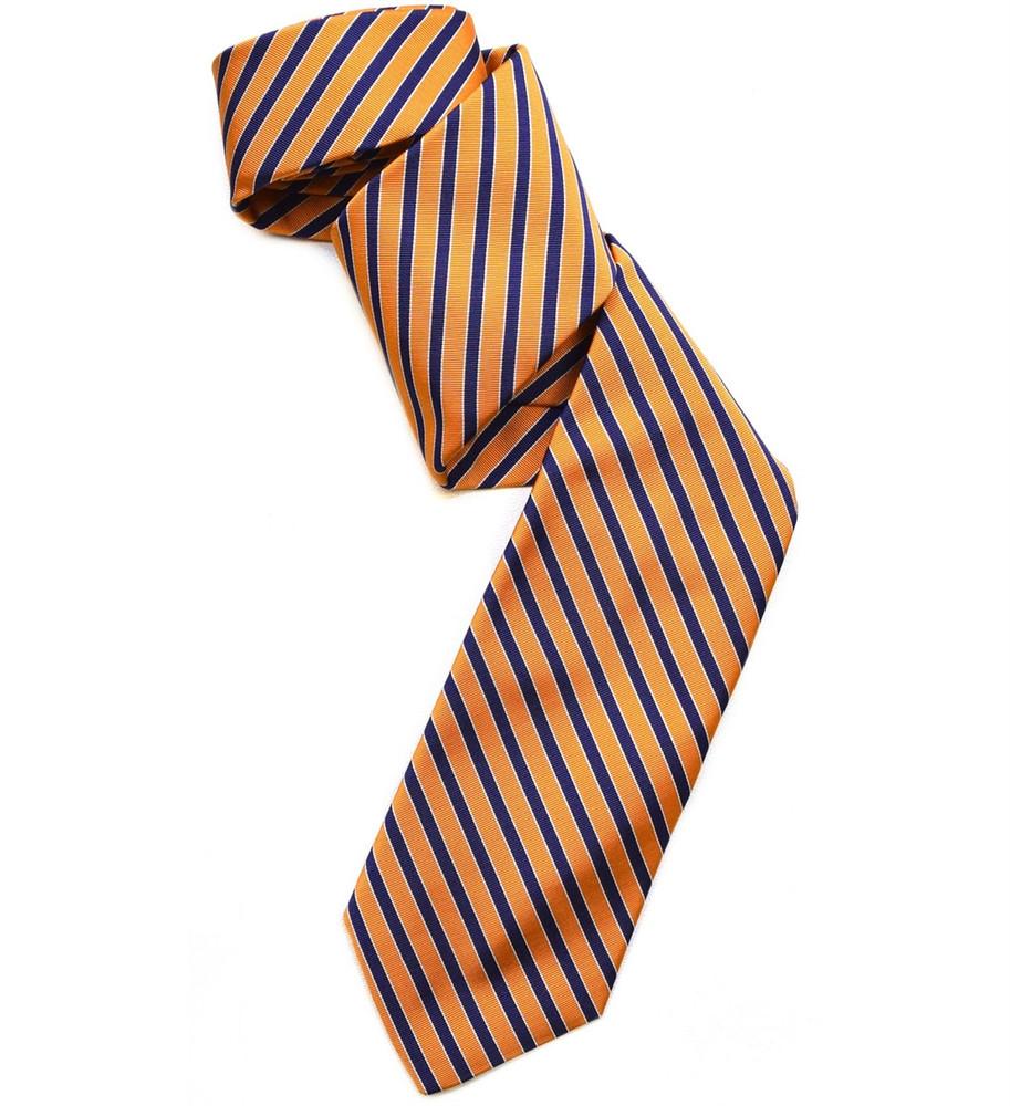 Best of Class Orange and Navy Stripe 'Silk & Cotton Collection' Woven Tie by Robert Talbott